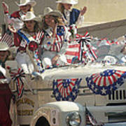 Patriotic Cowgirls Firetruck July 4th Parade Prescott Arizona 2002 Art Print