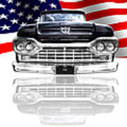 Patriotic Ford F100 1960 Art Print