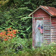 Patriotic Outhouse Art Print