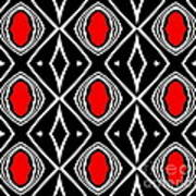 Pattern Geometric Black White Red Art No.391. Art Print by Drinka Mercep