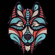 Patterned Colored Head Of The Wolf Art Print