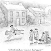 Paul Revere Rides Past Two Colonial Men Smoking Art Print