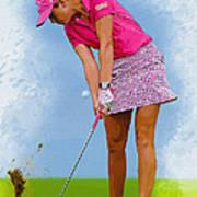 Paula Creamer In Actionon The Evian Masters Art Print