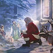 Santa Paying Homage Art Print
