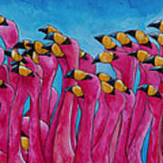 Peace Love And Flamingos Art Print by Patti Schermerhorn