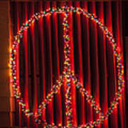 Peace Sign Christmas Lights Art Print