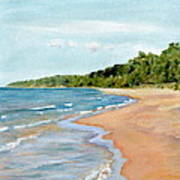 Peaceful Beach At Pier Cove Art Print