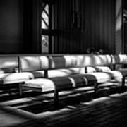 Peaceful Benches Print by Joan Carroll