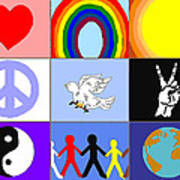 peaceloveunity Mosaic Art Print