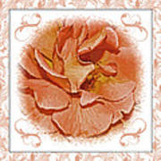 Peach Rose Sqrare Digital Paint Art Print
