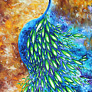Peacock Abstract Bird Original Painting In Bloom By Madart Art Print