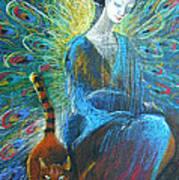 Peacock Angel And Cat Art Print