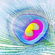 Peacock Feather Neon Art Print