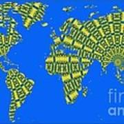Peacock Feather World Map Art Print