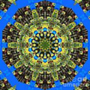 Peacock Feathers Kaleidoscope 9 Art Print