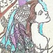 Peacock Woman 2 Art Print