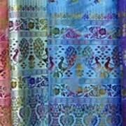 Peacocks On Silk Art Print