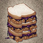 Peanut Butter And Jelly Sandwich Art Print