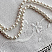 Pearls And Old Linen Art Print by Barbara Griffin