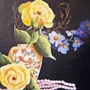 Pearls And Roses Art Print