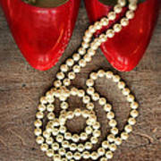 Pearls In Red Shoes Art Print