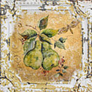 Pears And Dragonfly On Vintage Tin Art Print