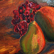 Pears And Grapes In The Lamplight Art Print