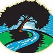 Pecan Tree Winding River Sunrise Retro Art Print