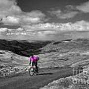 Pedalling The Pass In Pink  Art Print