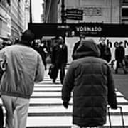Pedestrians Crossing Crosswalk Carrying Luggage On Seventh 7th Ave Avenue Art Print by Joe Fox