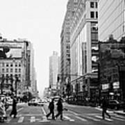 Pedestrians Crossing Crosswalk On West 34th Street And Sixth 6th Avenue At Herald Square New York Art Print