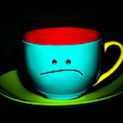 Peeved Colorful Cup And Saucer Art Print