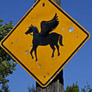 Pegasus Road Sign Art Print