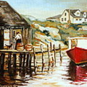 Peggy's Cove Nova Scotia Fishing Village With Red Boat Art Print