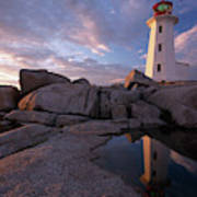 Peggys Point Lighthouse At Sunset Art Print