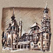 Peles Castle Romania Drawing Art Print