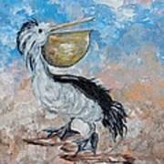 Pelican Beach Walk - Impressionist Art Print
