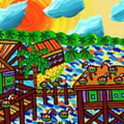 Pelican Convention Cedar Key Art Print by Mike Segal