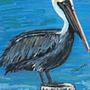 Pelican On Post Art Print