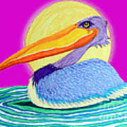 Pelican On The Water 2 Art Print