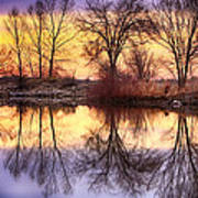 Pella Crossing Sunrise Reflections Hdr Art Print