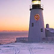 Pemaquid Point Lighthouse Christmas Snow Wreath Maine Art Print