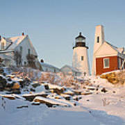 Pemaquid Point Lighthouse Winter In Maine  Art Print by Keith Webber Jr