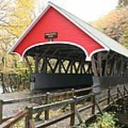 Pemigewasset River Covered Bridge In Fall Art Print
