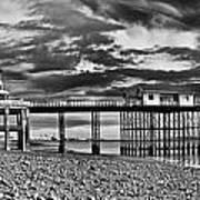 Penarth Pier Panorama Monochrome Art Print