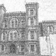 Pencil Drawing Of Old Jail Art Print