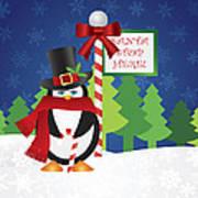 Penguin Top Hat At Santa Stop Here Sign Art Print