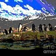 Penguins Line Dance Posterized 2 Art Print