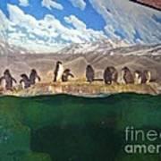 Penguins On Ice Art Print