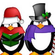 Penguins Singing Christmas Carol Cartoon Clipart Art Print